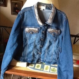 Forever 21 2X studded jean jacket BNWT